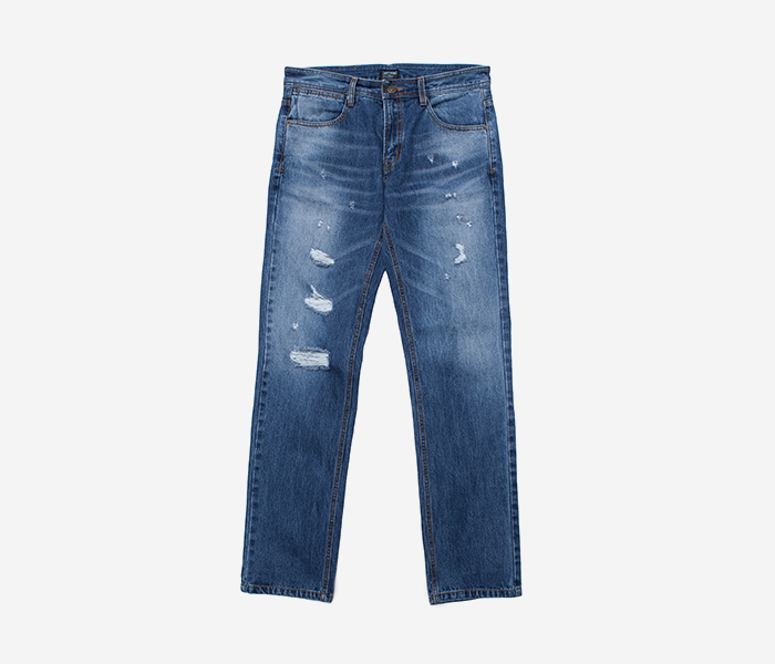 STM WASHING DAMAGE PANTS - BLUE brownbreath