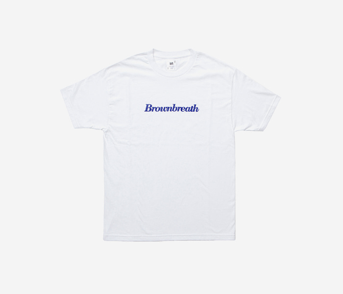 SERIF TEE - WHITE(BLUE) brownbreath