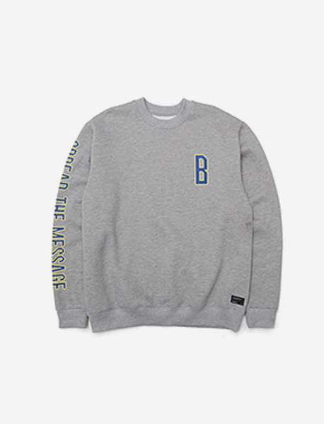 B CREWNECK KD - GREY brownbreath
