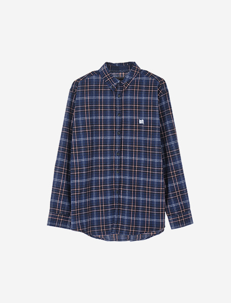 TAG CHECK SHIRTS - NAVY brownbreath
