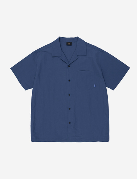 B OPEN COLLAR SHIRTS - NAVY brownbreath