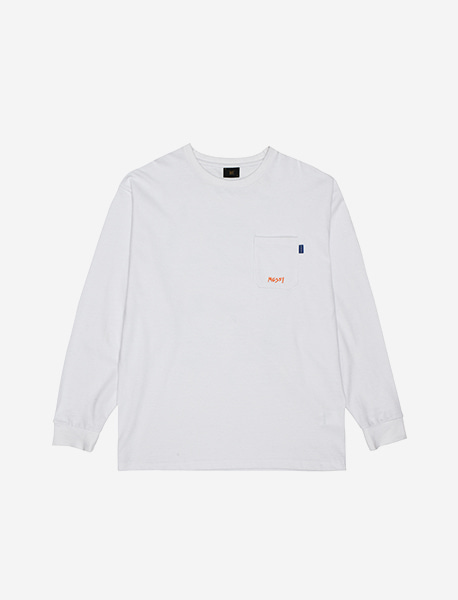 MESS POCKET LONGSLEEVE - WHITE brownbreath