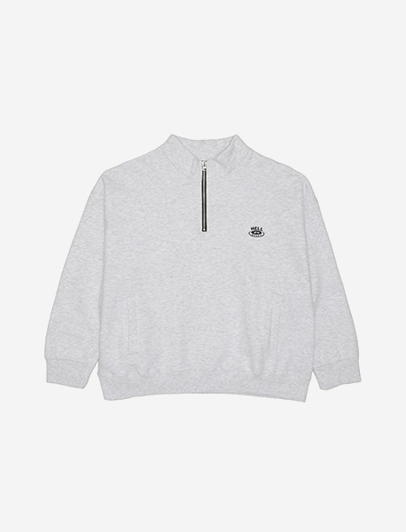 HELL UP HALF ZIP CREWNECK - ASH brownbreath