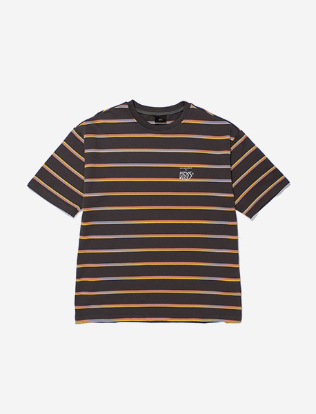 MESS STRIPE TEE - BLACK brownbreath