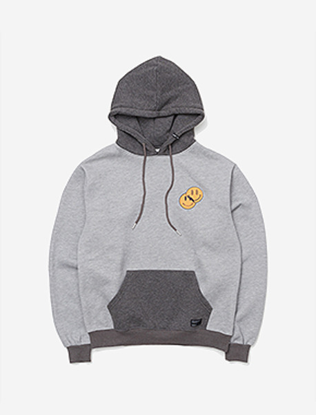 SMILEY HOODIE - GREY brownbreath