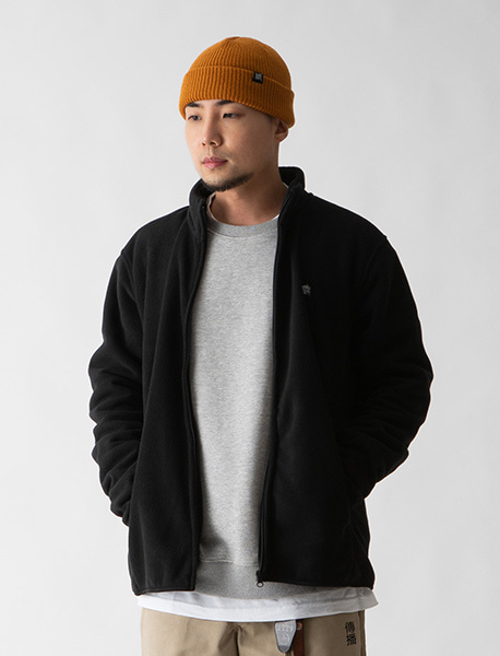 TAGGING FLEECE JACKET - BLACK brownbreath