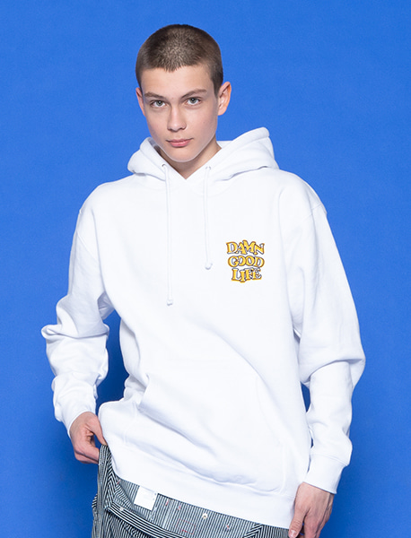 DAMN GOOD LIFE HOODIE - WHITE brownbreath