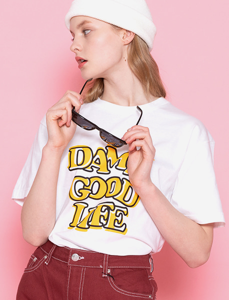 DAMNGOODLIFE TEE - WHITE brownbreath