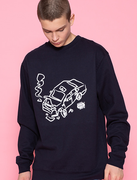 DAMN TRAFFIC CREWNECK - NAVY brownbreath