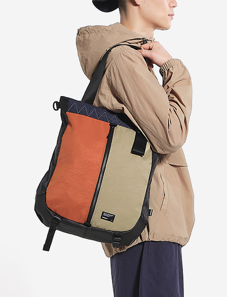COMBINE TOTE BAG - ORANGE brownbreath