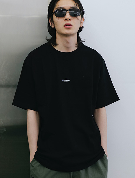 MESS AGE STITCH TEE - BLACK brownbreath