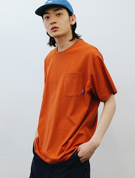 BB CIRCLE POCKET TEE - ORANGE brownbreath