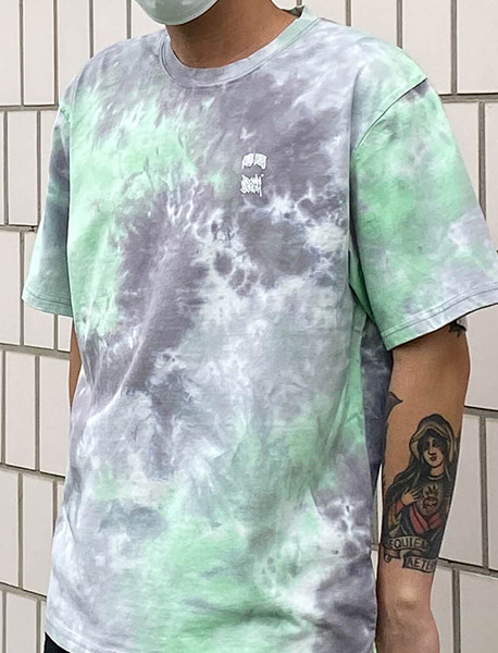 STM TIE DYE TEE - CHARCOAL brownbreath