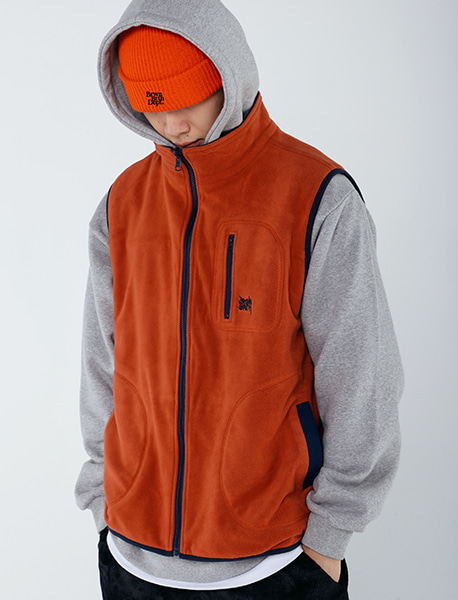 TAG REVERSIBLE FLEECE VEST - ORANGE brownbreath