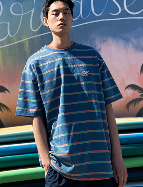 MESS STRIPE TEE - BLUE brownbreath